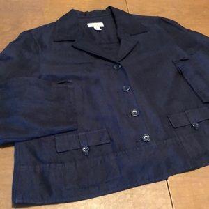 TALBOTS Linen Blend Navy Blue Blazer Jacket Sz 16